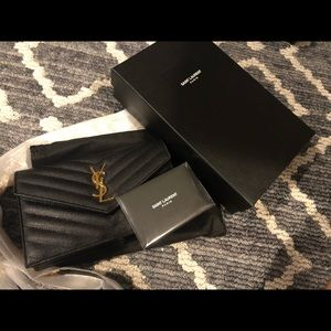 YSL Monogram Chevron Quilted Wallet on Chain small